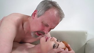 Horny elderly guy has red-letter sex with wife's cute stepdaughter
