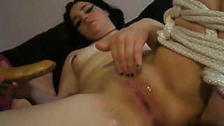 Kitty Fucks Her Pussy with a Banana